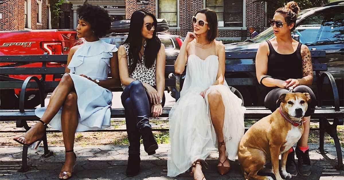 Single women talking in a group