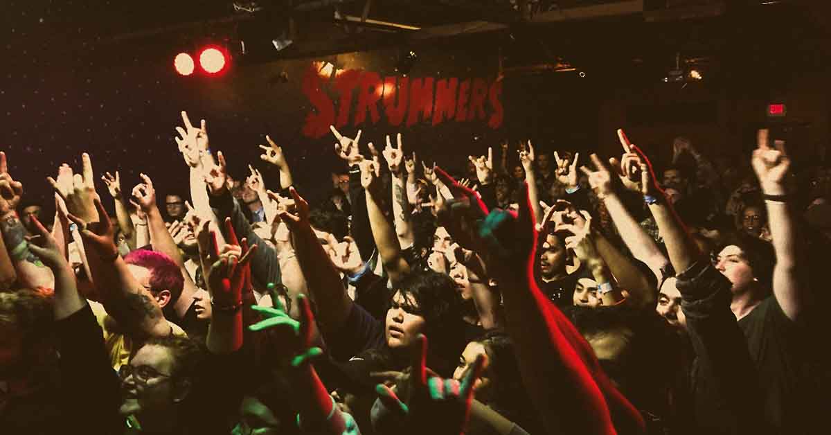 The lively crowd at Strummers