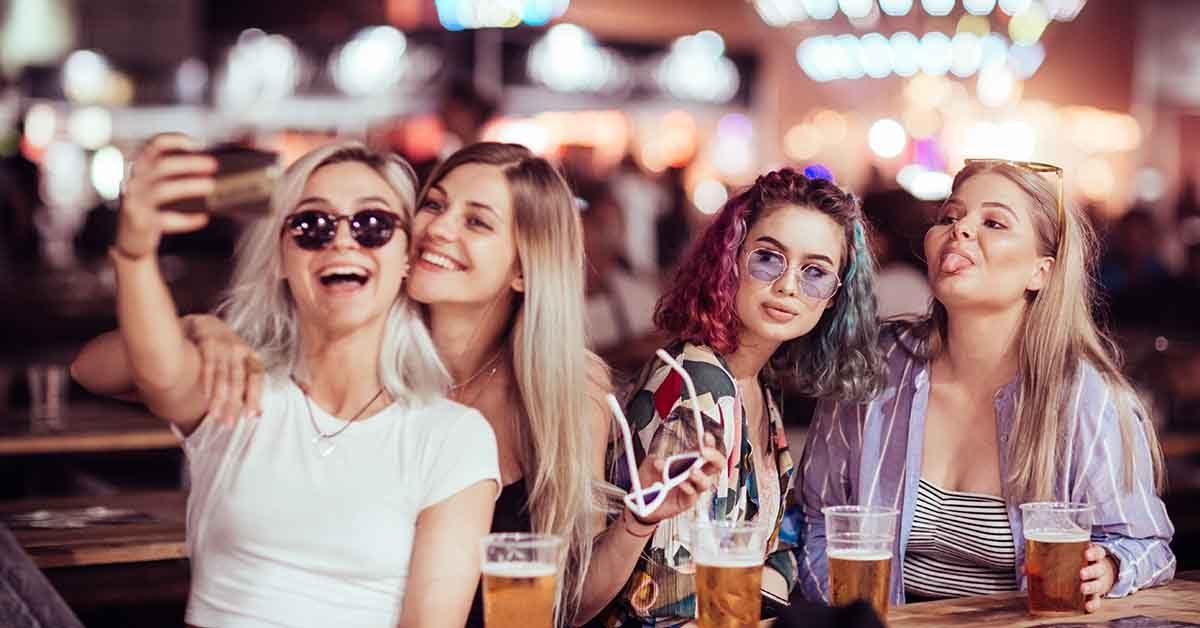 Cute Fresno girls at a beer garden